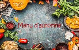 Les menus du mois d'Octobre